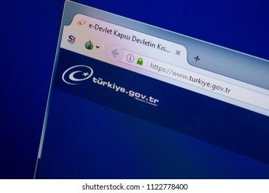 Ryazan, Russia - June 26, 2018: Homepage of Turkiye website on the display of PC. URL - Turkiye.gov.tr.
