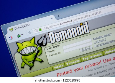 Ryazan, Russia - June 26, 2018: Homepage of Demonoid website on the display of PC. URL - Demonoid.pw.