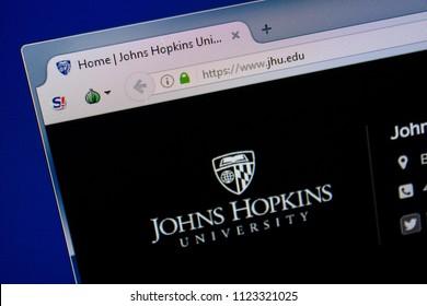Ryazan, Russia - June 26, 2018: Homepage of JHU website on the display of PC. URL - JHU.edu.