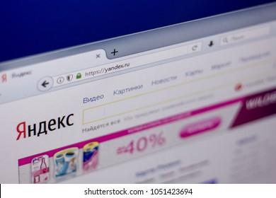 Ryazan, Russia - March 01, 2018 - Front page of popular in Russia search engine Yandex, web adress - yandex.ru