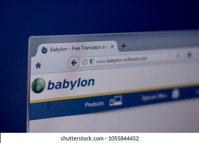 Ryazan, Russia - March 01, 2018 - Homepage of Babylon Software on a display of PC, web adress - babylon-software.com