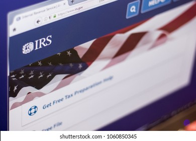 Ryazan, Russia - March 01, 2018 - Homepage of Internal Revenue Service website on a display of PC, web adress - irs.gov