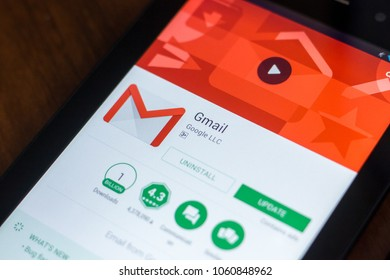 Ryazan, Russia - March 21, 2018 - Gmail app with logo on a display of tablet PC.