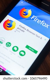 Ryazan, Russia - March 21, 2018 - Mozilla Firefox browser mobile app on the display of tablet PC.