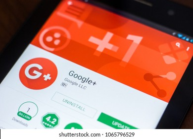 Ryazan, Russia - March 21, 2018 - Google+ mobile app on the display of tablet PC.