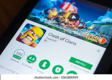 Ryazan, Russia - March 21, 2018 - Clash of Clans mobile app on the display of tablet PC.