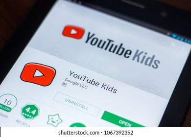 Ryazan, Russia - March 21, 2018 - Youtube Kids mobile app on the display of tablet PC.