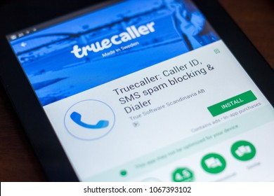 Ryazan, Russia - March 21, 2018 - Truecaller mobile app on the display of tablet PC.