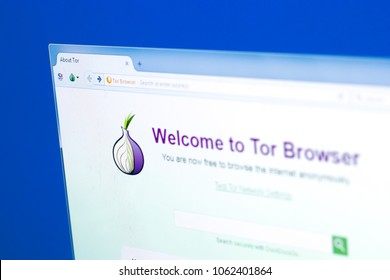 Ryazan, Russia - March 28, 2018 - Tor browser on a display of PC with logo in a form of onion.