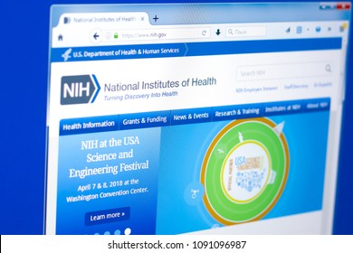 Ryazan, Russia - March 28, 2018 - Homepage of National Institute of Health on a display of PC, web adress - nih.gov.