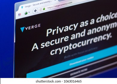 Ryazan, Russia - March 29, 2018 - Homepage of Verge cryptocurrency on PC display, web address - vergecurrency.com
