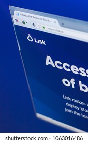 Ryazan, Russia - March 29, 2018 - Homepage of Lisk cryptocurrency on a PC display, web address - lisk.io.