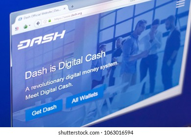 Ryazan, Russia - March 29, 2018 - Homepage of Dash cryptocurrency on PC display, web adress - dash.org.