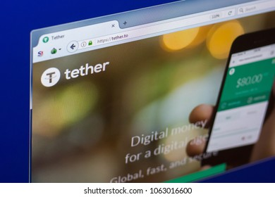 Ryazan, Russia - March 29, 2018 - Homepage of Tether cryptocurrency on PC display, web adress - tether.to.
