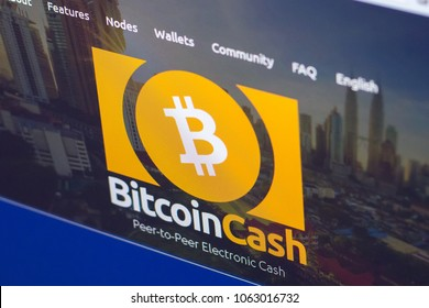 Ryazan, Russia - March 29, 2018 - Homepage of Bitcoin Cash cryptocurrency BCH - bitcoincash.org on a display of PC.