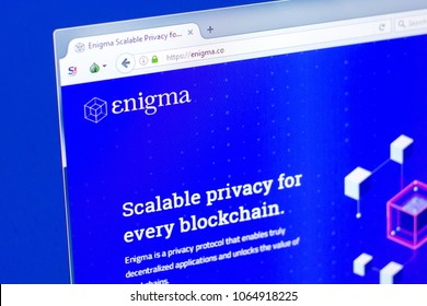 Ryazan, Russia - March 29, 2018 - Homepage of Enigma crypto currency on the display of PC, web - enigma.co