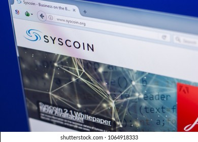 Ryazan, Russia - March 29, 2018 - Homepage of Syscoin crypto currency on the PC display, web address - syscoin.org
