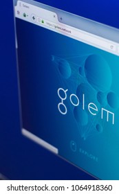 Ryazan, Russia - March 29, 2018 - Homepage of Golem crypto currency on the PC display, web address - golem.network