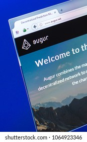 Ryazan, Russia - March 29, 2018 - Homepage of Augur cryptocurrency on the PC display, homepage - augur.net.