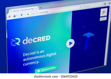 Ryazan, Russia - March 29, 2018 - Homepage of Decred crypto currency on the PC display, web address - decred.org.