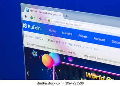 Ryazan, Russia - March 29, 2018 - Homepage of KuCoin crypto currency on the PC display, web address - www.kucoin.com.