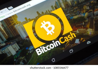 Ryazan, Russia - March 29, 2018 - Homepage of Bitcoin Cash cryptocurrency on display of tablet PC, bitcoincash.org.
