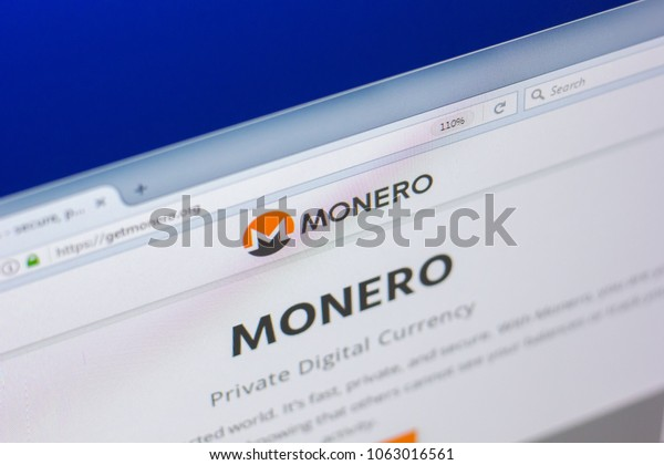 Ryazan, Russia - March 29, 2018 - Homepage of Monero cryptocurrency on PC display, web adress - getmonero.org.