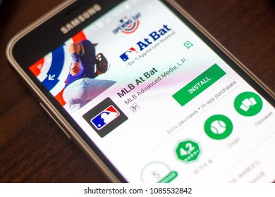 Ryazan, Russia - May 04, 2018: MLB At Bat mobile app on the display of cell phone.