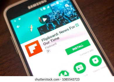 Ryazan, Russia - May 04, 2018: Flipboard News mobile app on the display of cell phone.