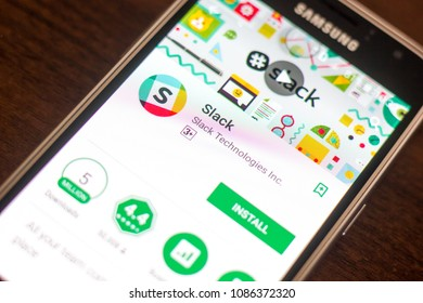 Ryazan, Russia - May 04, 2018: Slack mobile app on the display of cell phone.