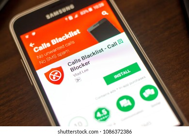 Ryazan, Russia - May 04, 2018: Calls Blacklist mobile app on the display of cell phone.