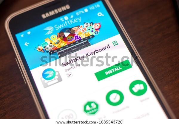 Ryazan, Russia - May 04, 2018: SwiftKey Keyboard mobile app on the display of cell phone.
