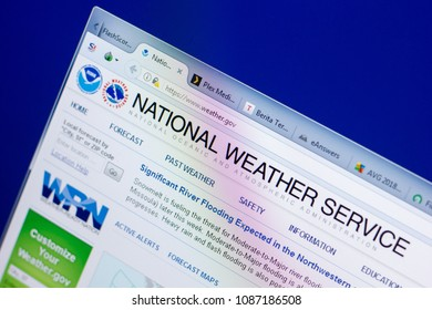 Ryazan, Russia - May 08, 2018: Weather website on the display of PC, url - Weather.gov.