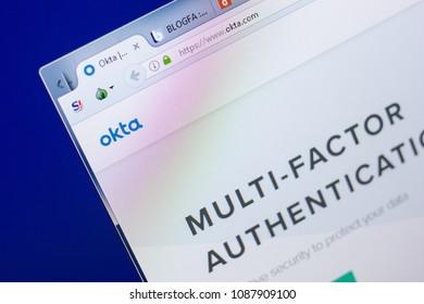 Ryazan, Russia - May 08, 2018: Okta website on the display of PC, url - Okta.com.