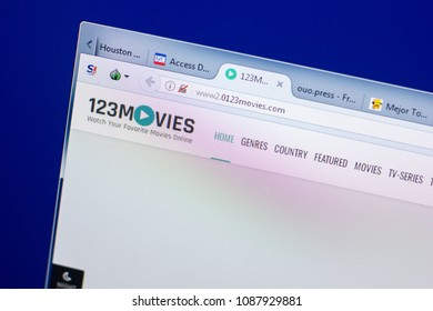 Ryazan, Russia - May 08, 2018: 0123movies website on the display of PC, url - 0123movies.com.