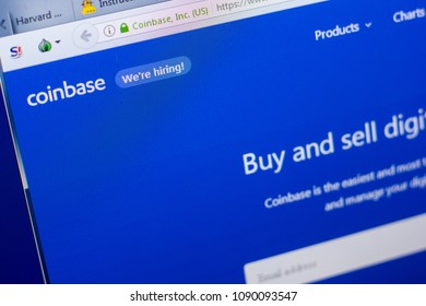 Ryazan, Russia - May 08, 2018: CoinBase website on the display of PC, url - CoinBase.com.