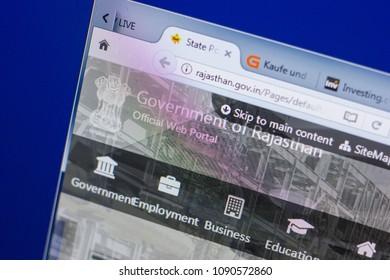 Ryazan, Russia - May 13, 2018: Rajastan website on the display of PC, url - Rajastan.gov.in.