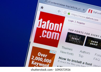 Ryazan, Russia - May 13, 2018: DaFont website on the display of PC, url - DaFont.com.