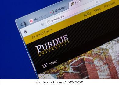 Ryazan, Russia - May 13, 2018: Purdue website on the display of PC, url - Purdue.edu.