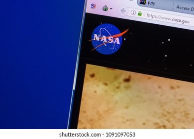 Ryazan, Russia - May 13, 2018: Nasa website on the display of PC, url - Nasa.gov.