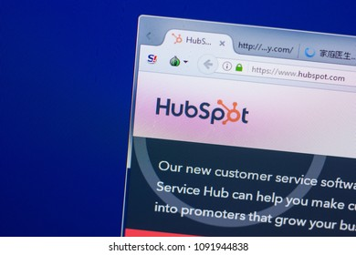 Ryazan, Russia - May 13, 2018: HubSpot website on the display of PC, url - HubSpot.com.