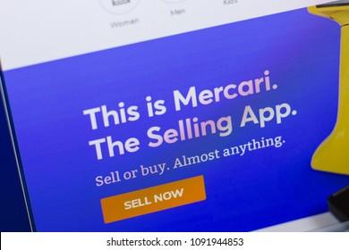 Ryazan, Russia - May 13, 2018: Mercari website on the display of PC, url - Mercari.com.