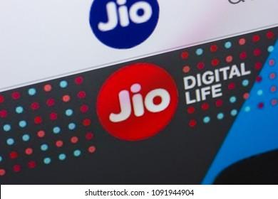 Ryazan, Russia - May 13, 2018: Jio website on the display of PC, url - Jio.com.