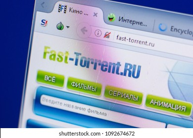 Ryazan, Russia - May 13, 2018: Fast-Torrent website on the display of PC, url - Fast-Torrent.ru.