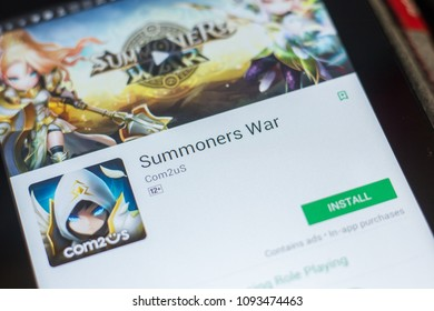 Ryazan, Russia - May 16, 2018: Summoners War mobile app on the display of tablet PC.