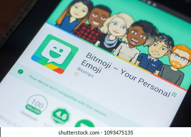 Ryazan, Russia - May 16, 2018: Bitmoji mobile app on the display of tablet PC.