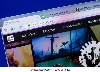 Ryazan, Russia - May 20, 2018: Homepage of GOG website on the display of PC, url - GOG.com.