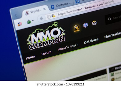 Ryazan, Russia - May 20, 2018: Homepage of MMO-champion website on the display of PC, url - MMO-champion.com.