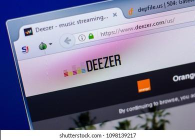 Ryazan, Russia - May 20, 2018: Homepage of Deezer website on the display of PC, url - Deezer.com.