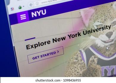 Ryazan, Russia - May 20, 2018: Homepage of Nyu website on the display of PC, url - Nyu.edu.